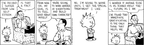 Calvin & Hobbes - low self esteem and immediate gratification